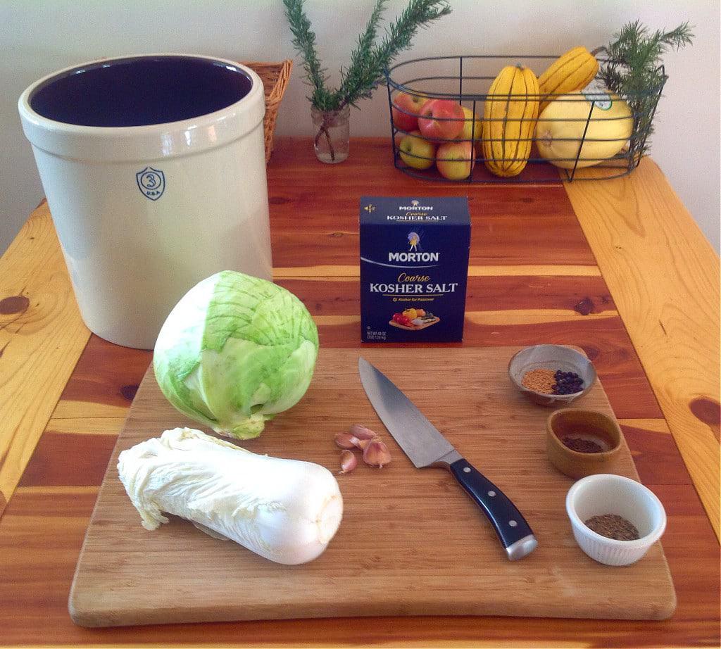 Fermenting vessel, cabbage, salt, garlic, spices