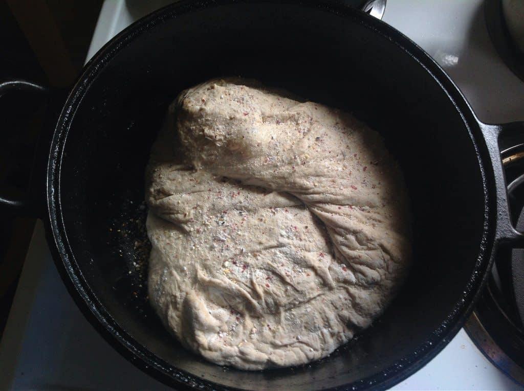 put no knead sourdough in dutch oven
