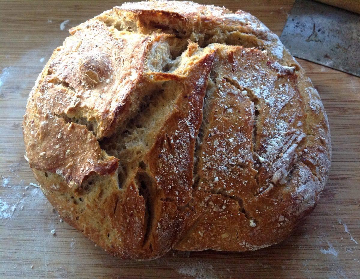 The Easiest No Knead Sourdough Bread