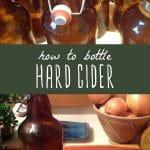 Bottles of homemade hard cider, and a glass of homemade fermented hard cider.