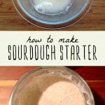 Ingredients for sourdough starter in a glass bowl, and a jar of bubbling mature sourdough starter.