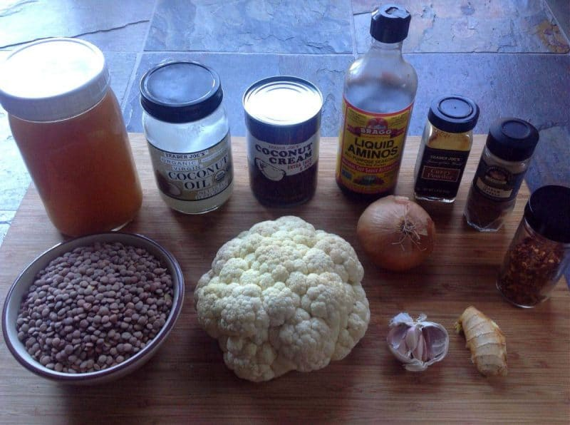 lentil curry ingredients