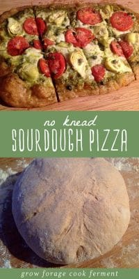 No knead sourdough pizza dough resting on a cutting board, and a fresh baked sourdough pizza.