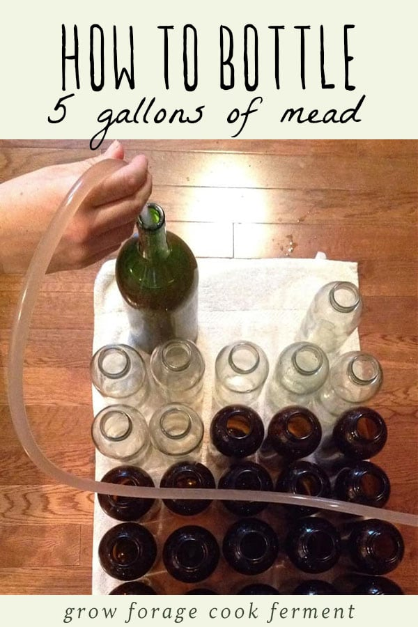 Bottling mead for storage.