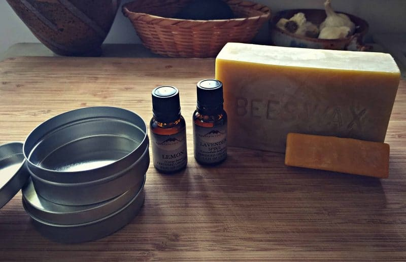 tins, essential oils and beeswas for salve making