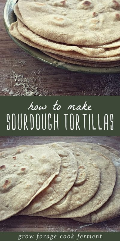 A plate of sourdough tortillas, and fresh sourdough tortillas on a cutting board.