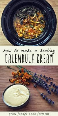 A tin of all natural calendula cream herbal body lotion and a pot of calendula infused oil.