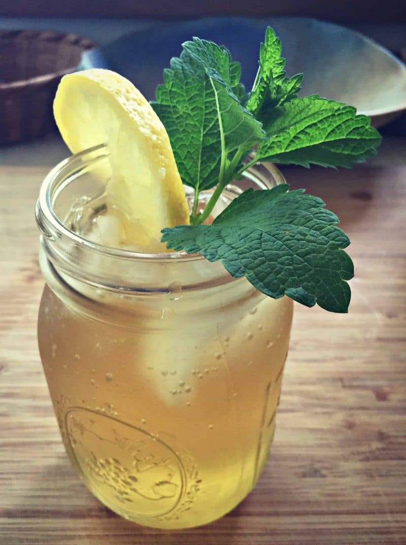 lemon balm iced tea in a mason jar