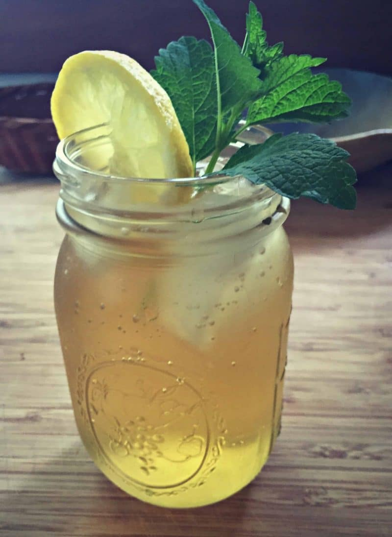 a jar of lemon balm iced tea