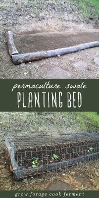 Images showing how to build a permaculture swale planting bed in a backyard garden.