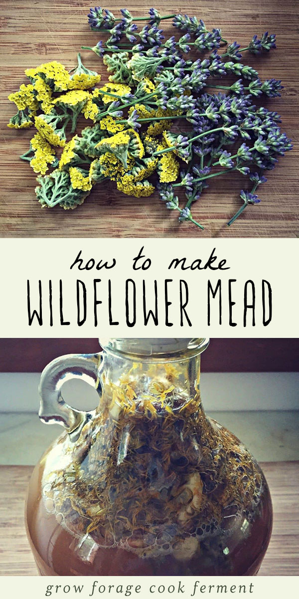 Have you made a gallon of mead yet? Here is a great recipe for how to make wildflower mead using foraged flowers from your yard. The finished mead is dry, with a hint of sweetness and a wonderful floral aroma. A must make mead recipe when wildflowers are plentiful! #mead #homebrew