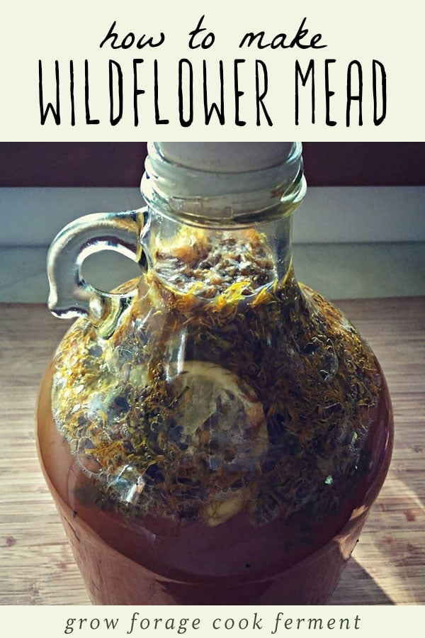 A jug of homebrewed wildflower mead.