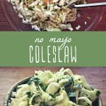 No mayo coleslaw ingredients in a glass bowl, and a small dish of homemade coleslaw.