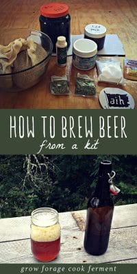 Home brew kit ingredients, and a bottle and glass of home brewed beer from a kit.