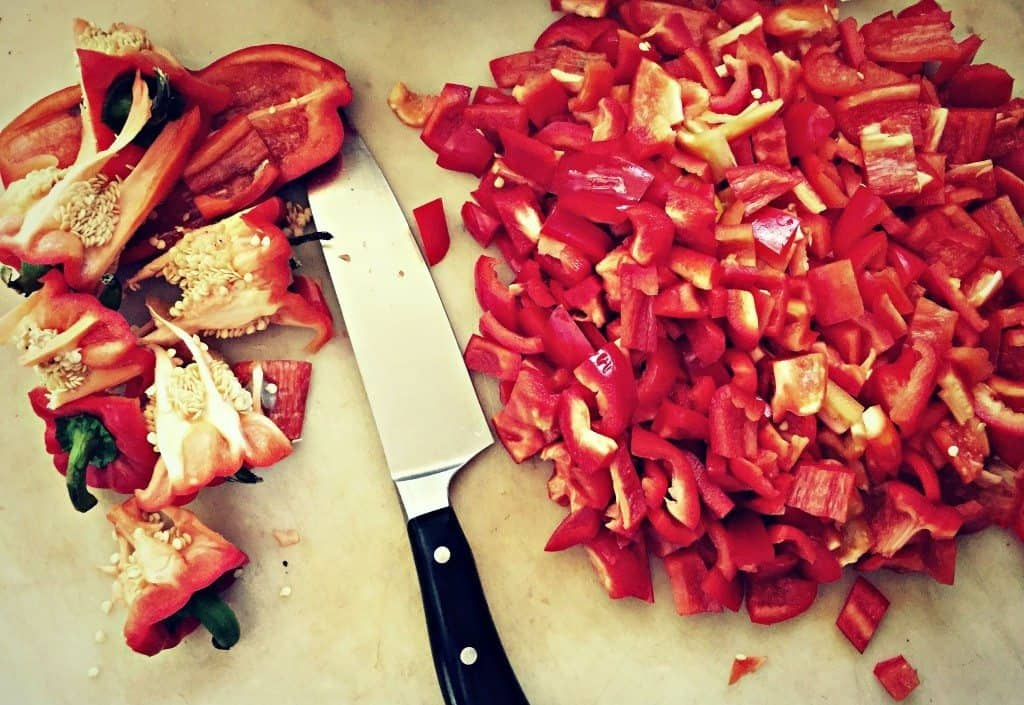 chop peppers