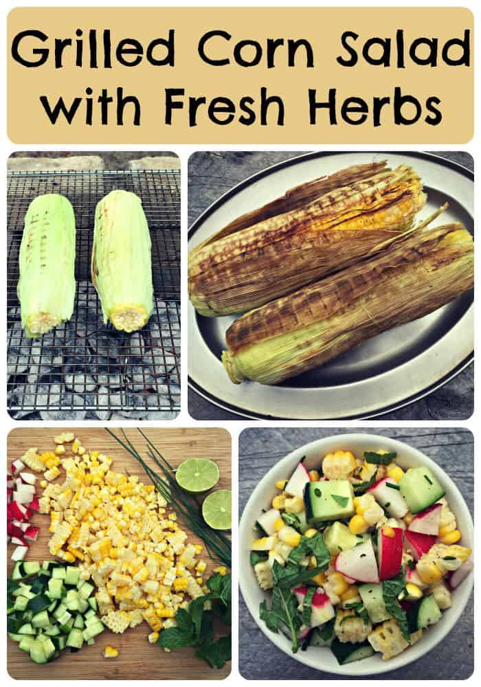 corn salad collage