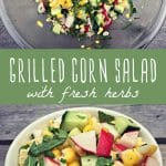 Grilled corn salad ingredients in a mixing bowl, and a grilled corn salad in a bowl on a wood table.