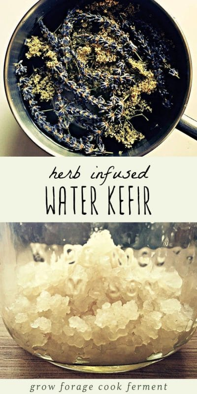 Fresh herbs in a bowl, and kefir water grains in a glass jar.