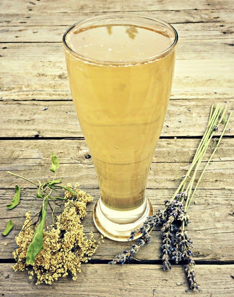 kefir soda with flowers