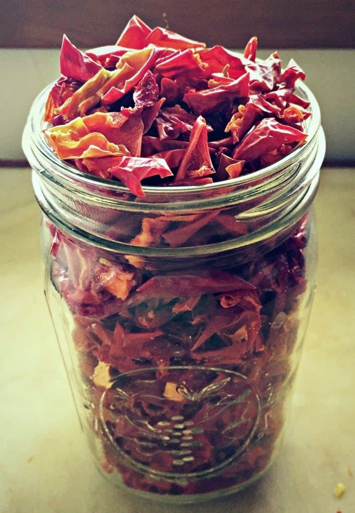 quart jar of dried peppers