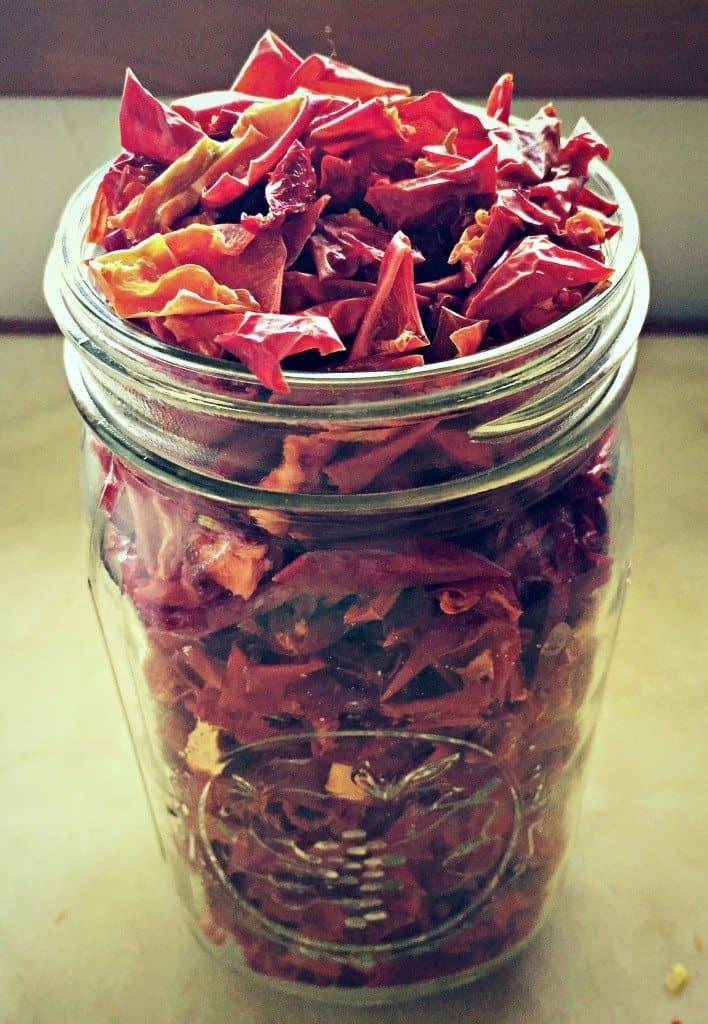 quart jar of dried peppers