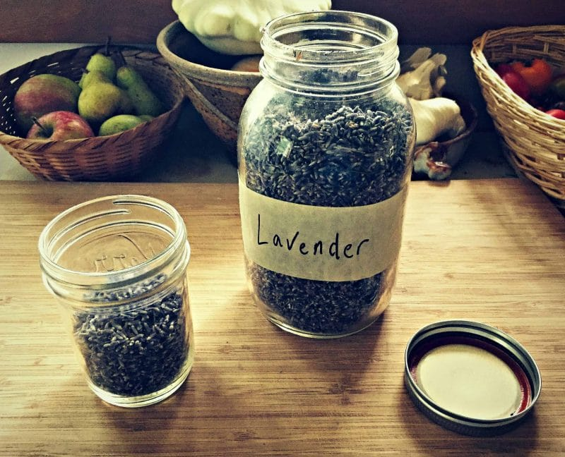 dried lavender in a jar