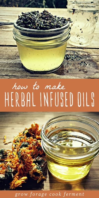 A tin filled with a solid infused herbal oil, and fresh herbs and medicinal flowers infusing in a jar of carrier oil.