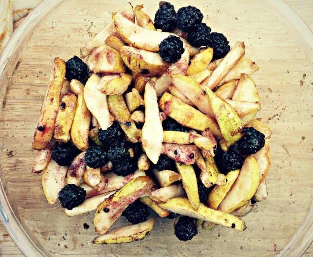 macerating pears and blackberries
