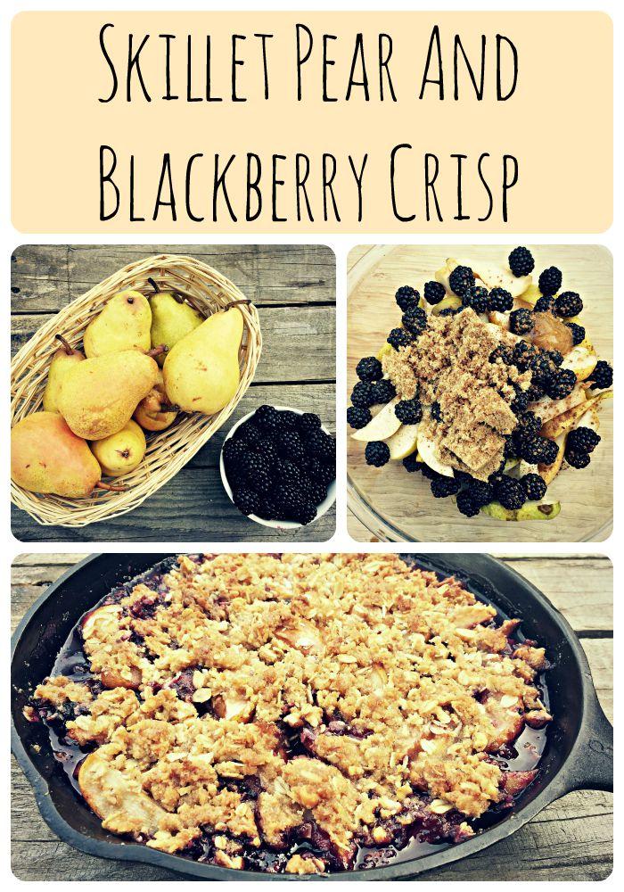 pear blackberry crisp collage
