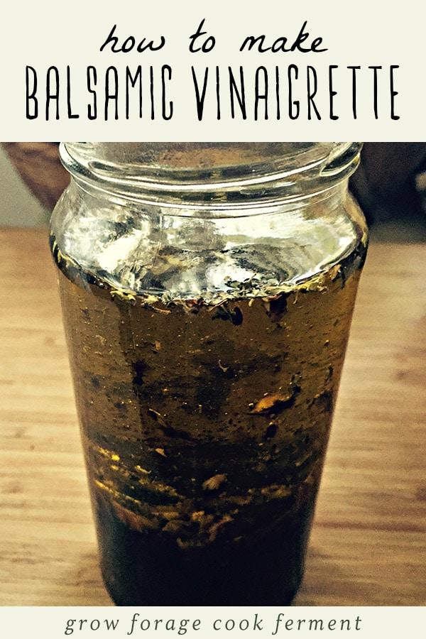 A glass jar of homemade balsamic vinaigrette.