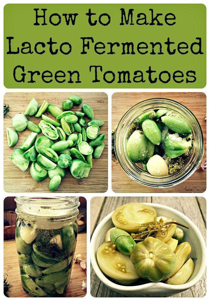 fermented green tomatoes collage