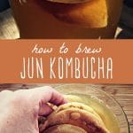 Jun kombucha brewing in a large glass jar, and a close-up view of a kombucha scoby.