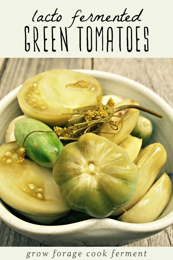 A bowl of lacto fermented green tomatoes.