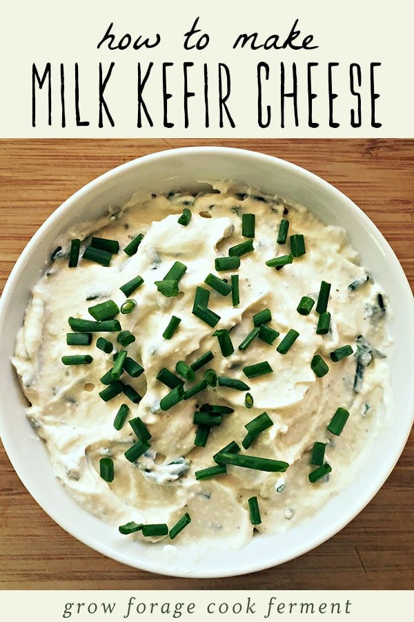 A bowl of milk kefir cheese garnished with fresh chives.