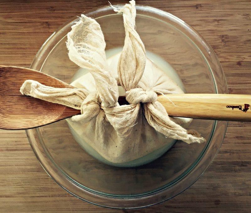 tie milk kefir cheesscloth