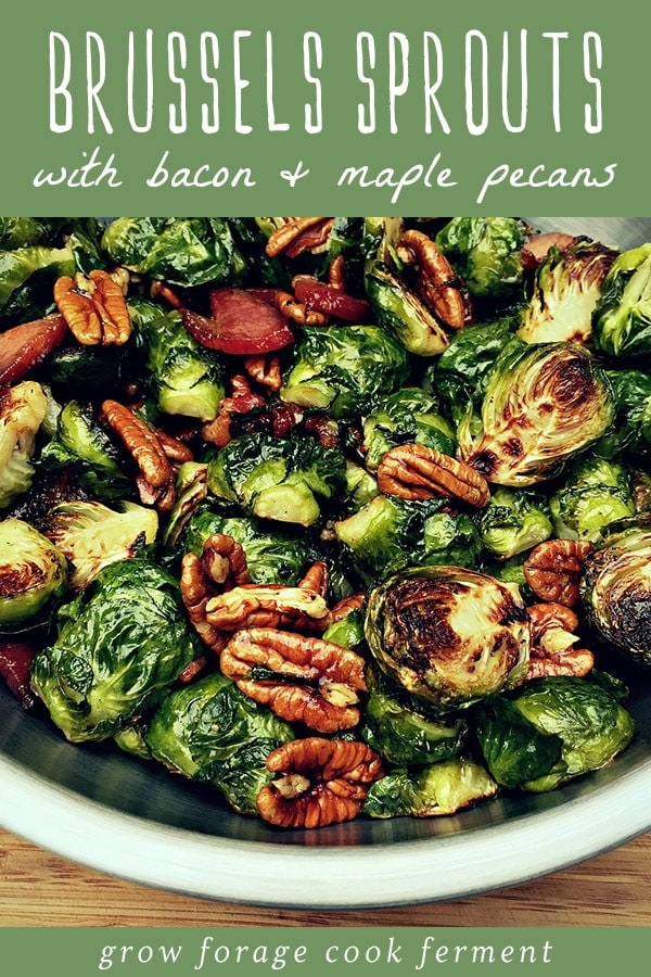 a bowl of roasted brussels sprouts with bacon and maple pecans