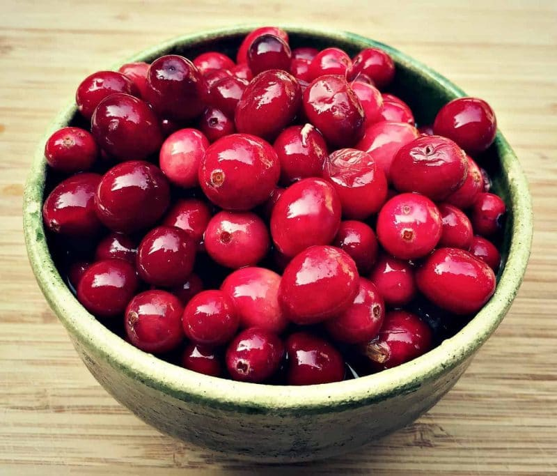 fermented cranberries in a serving bowl