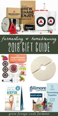 A collage of gift ideas for beginning and experienced fermenters and home brewers.
