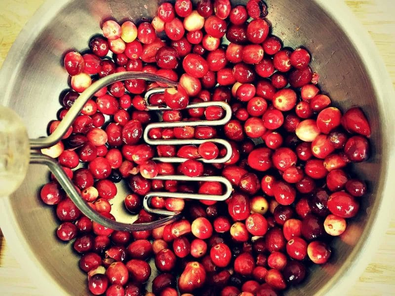 smash cranberries