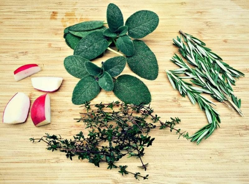 herbs for kvass on a cutting board