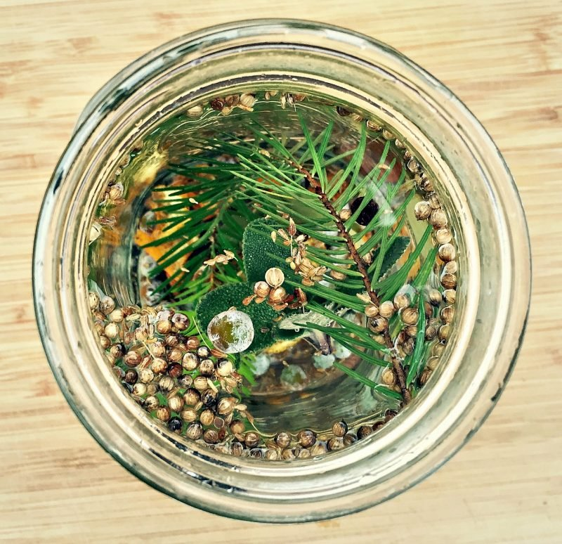 herbs and gin botanicals in vodka