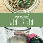 Homemade infused gin in a jar, and a glass of homemade gin with foraged winter herbs.