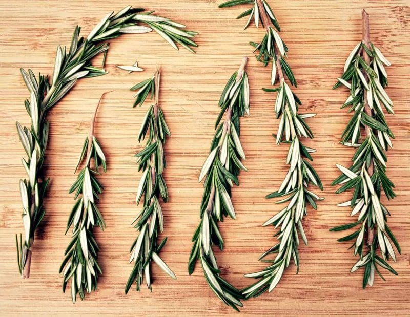 sprigs of homegrown rosemary on a cutting board