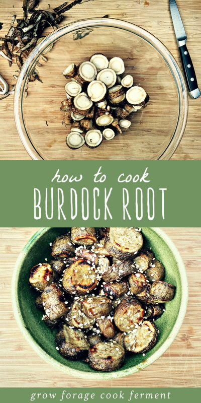 Raw burdock root into a glass mixing bowl and roasted burdock root with soy sauce and sesame seeds in a serving bowl.