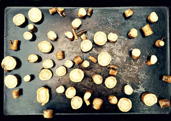 burdock root on sheet pan