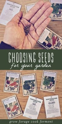 A woman holding garden seeds in her hand surrounded by various seed packets.