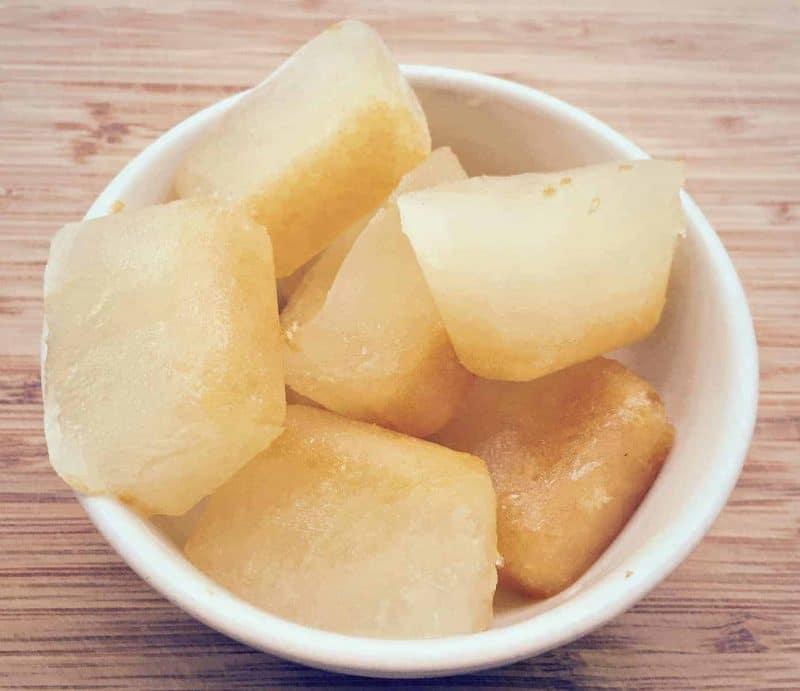 lemon juice ice cubes in a bowl