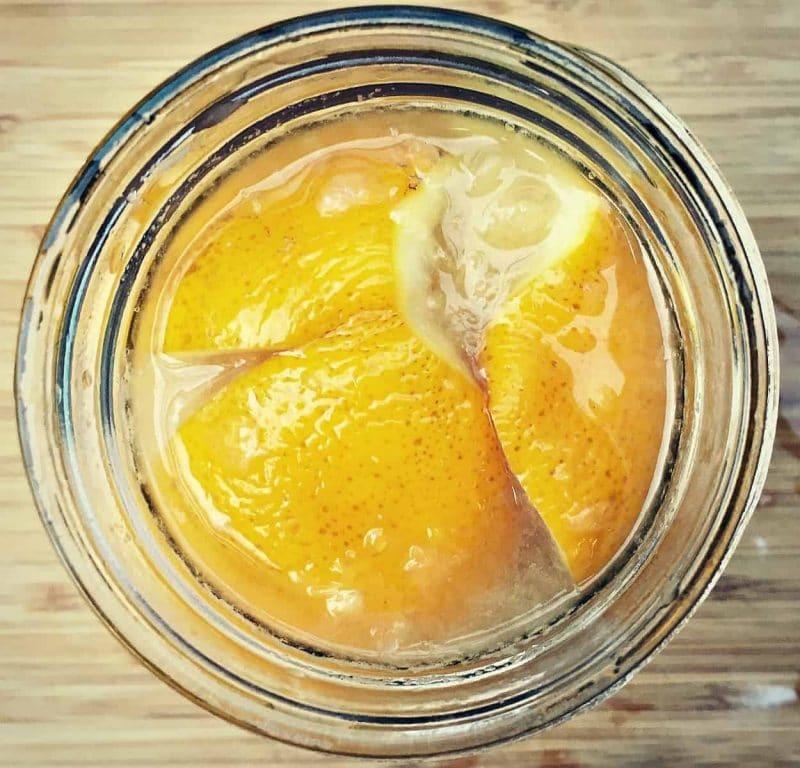 top view of preserved lemons in a jar