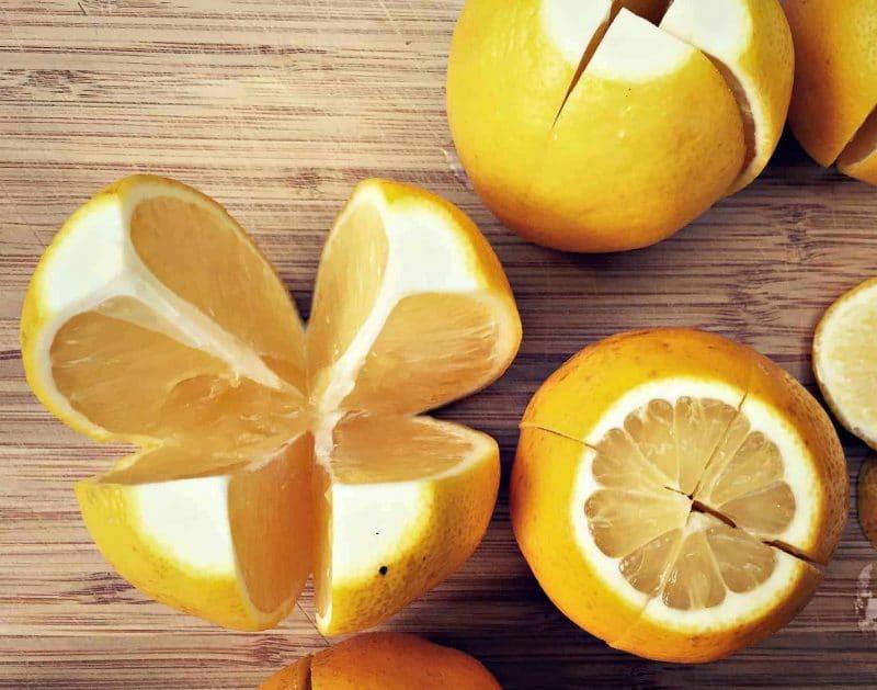 meyer lemons cut in quarters for preserving