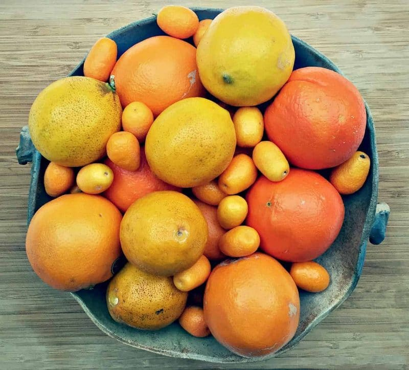 a bowl of various citrus